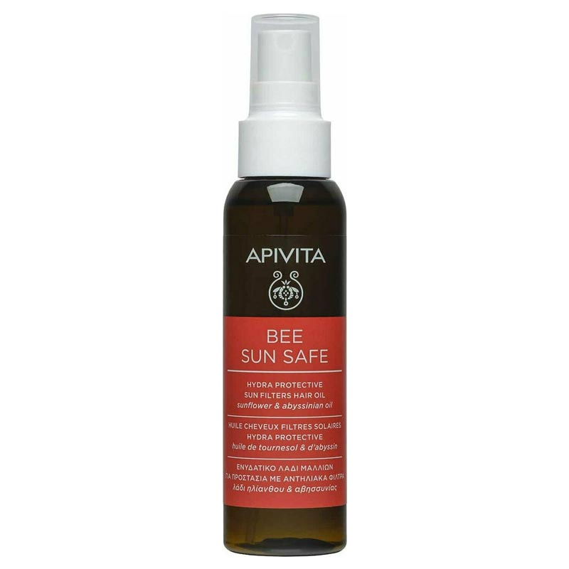 Apivita Bee Sun Safe Hydra Protection Sun Filters Hair Oil, Αντηλιακό Λάδι Μαλλιών με Ηλίανθο & Λάδι Αβυσσινίας 100ml