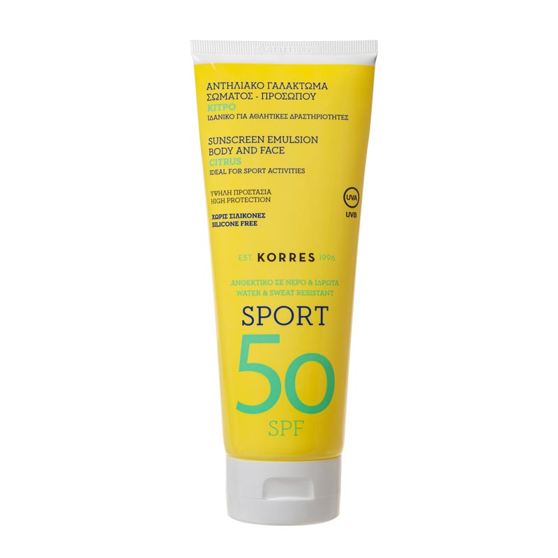 Korres Sport Sunscreen Emulsion Body & Face Citrus SPF50 200ml