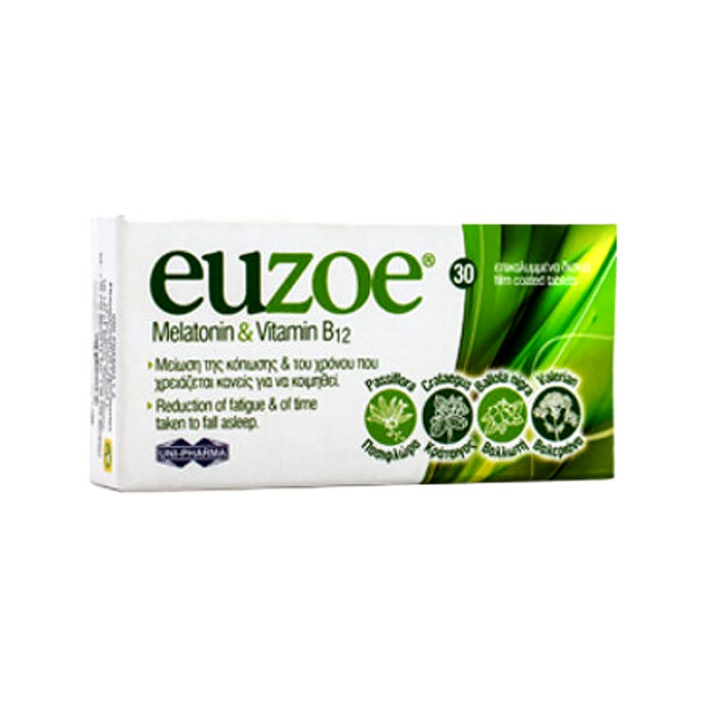 Uni-Pharma Euzoe Melatonin & Vitamin B12 30 ταμπλέτες