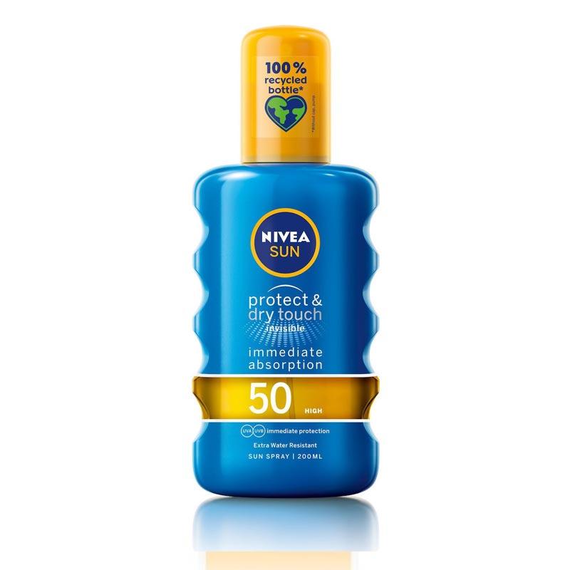 Nivea Sun Protect & Dry Touch Invisible Spray Spf50 Διάφανο Αντηλιακό Spray Υψηλής Προστασίας & Αίσθηση Δροσιάς 200ml