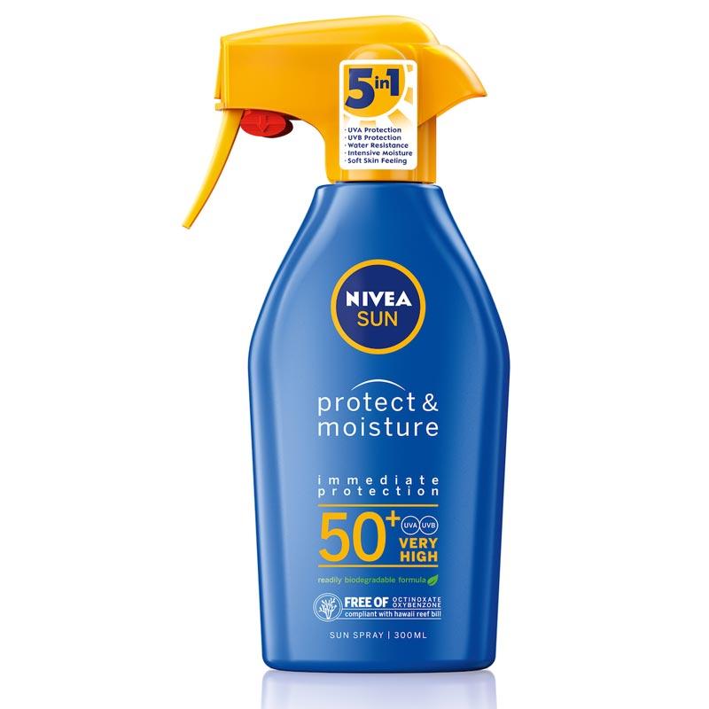 Nivea Sun PRotect & Moisture Trigger Spray SPF50+ Αντηλιακό Σπρέι Προσώπου & Σώματος 300ml.
