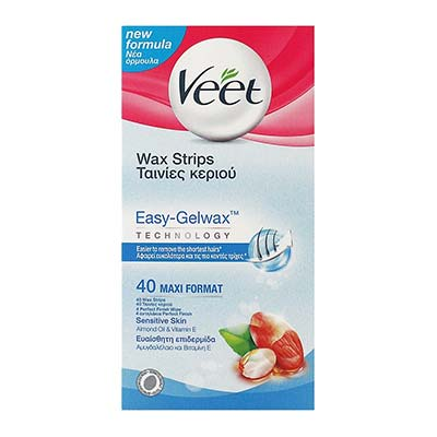 Veet Wax Strip Easy-Gelwax Maxi. Sensitive Skin. 40 ταινίες