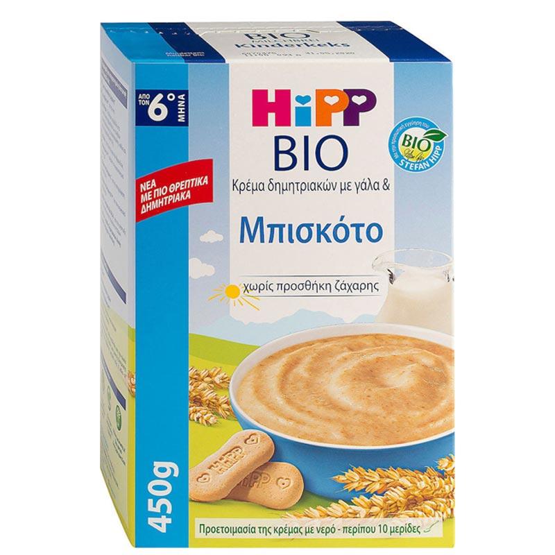 Hipp Bio Κρέμα Δημητριακών με Γάλα & Μπισκότο Χωρίς Προσθήκη Ζάχαρης 6m+ 450gr