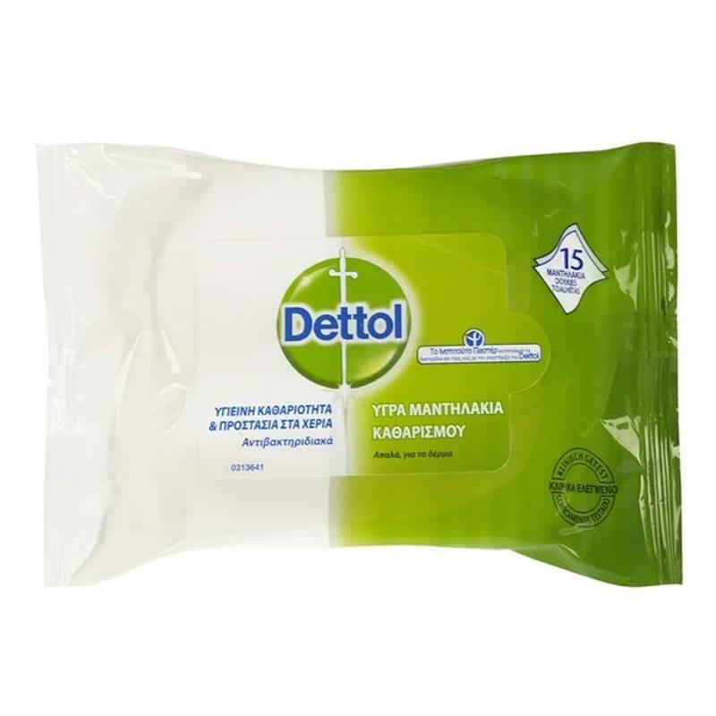 Dettol | Υγρά Αντιβακτηριδιακά Μαντηλάκια Καθαρισμού Χεριών | 15 τμχ