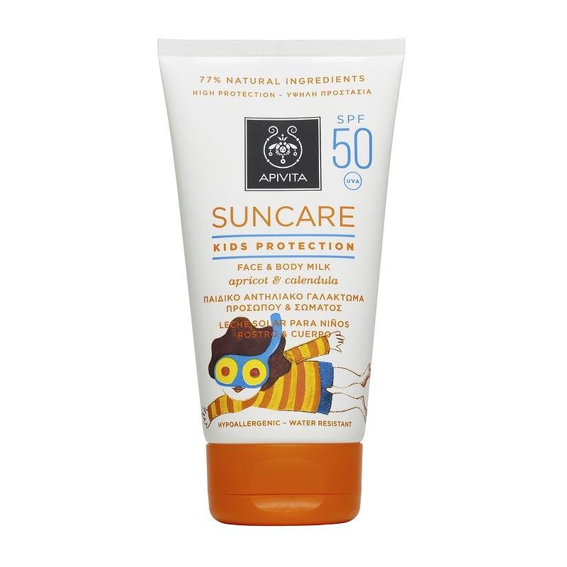 Apivita Suncare Kids Protection Face & Body Milk SPF50 Παιδικό Αντηλιακό Γαλάκτωμα για πρόσωπο & σώμα, με Βερύκοκο & Καλέντουλα 150ml