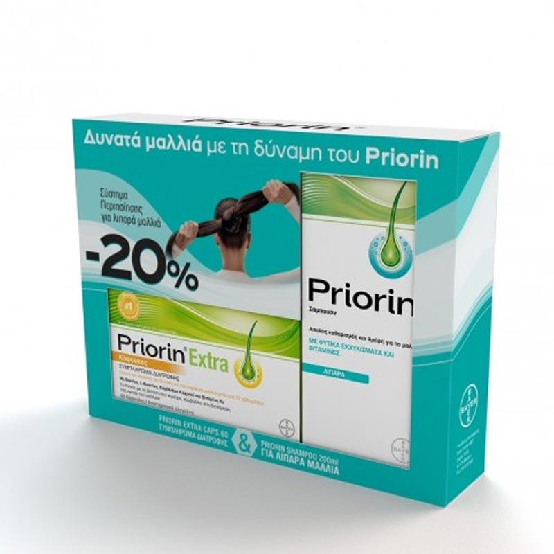 Priorin Extra 60 κάψουλες & Σαμπουάν Priorin για Λιπαρά Μαλλιά 200ml