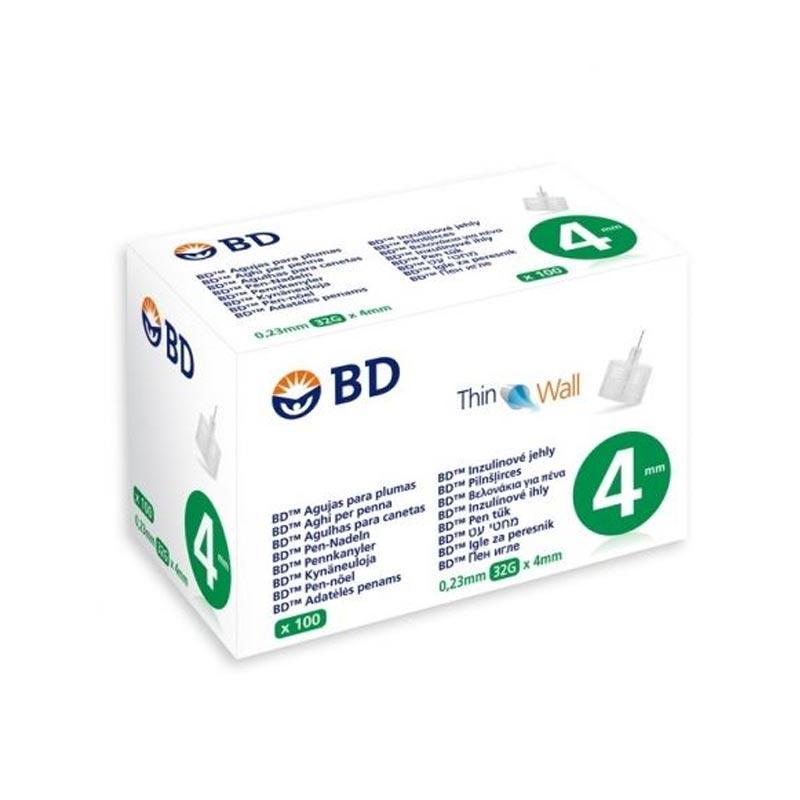 BD Thin Wall Αποστειρωμένες βελόνες ινσουλίνης 4mm x 0.23mm (32G) 100τμχ