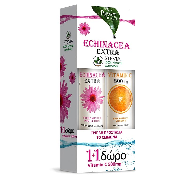 Power Health Echinacea Extra με Στέβια + Vitamin C 500mg 24 + 20 tabs