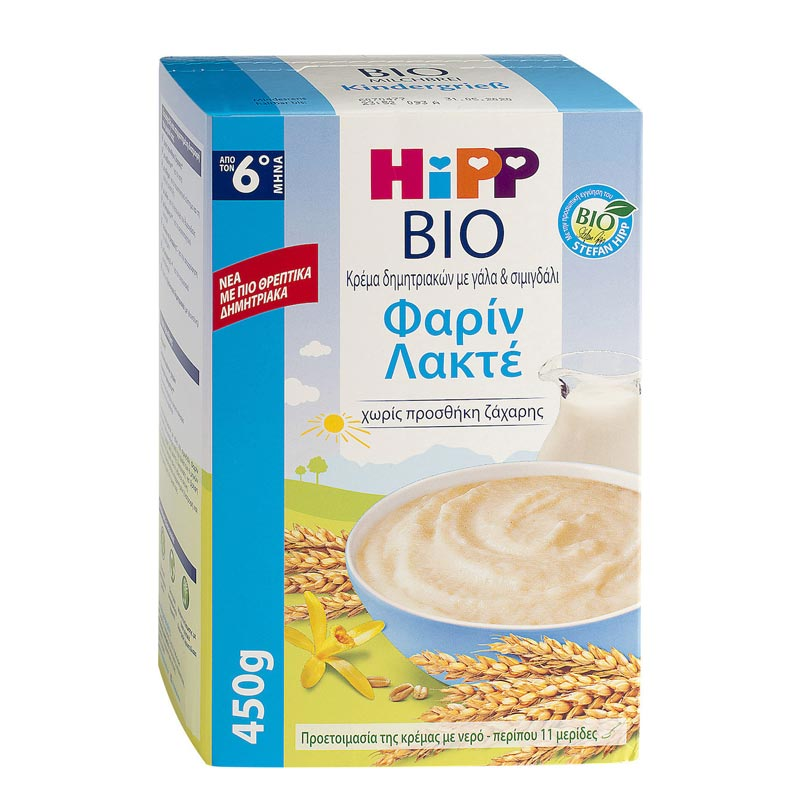Hipp Bio Κρέμα Φαρίν Λακτέ με Γάλα Χωρίς Προσθήκη Ζάχαρης 6m+ 450gr