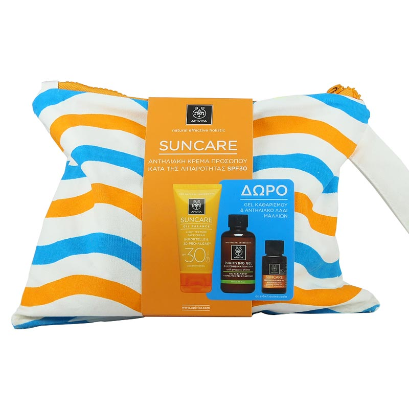 Apivita Suncare SET: Oil Balance Face Cream SPF30 + ΔΩΡΟ Cleansing Gel Propolis-Lime 75ml & Suncare Hair Oil 20ml