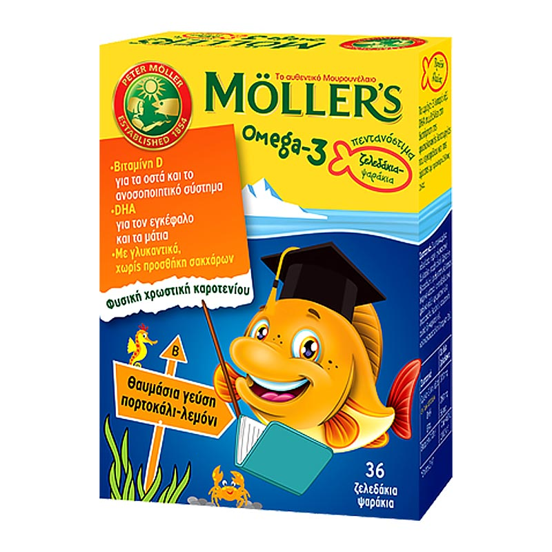 Mollers Omega-3 για Παιδιά 36 Ζελεδάκια Πορτοκάλι-Λεμόνι