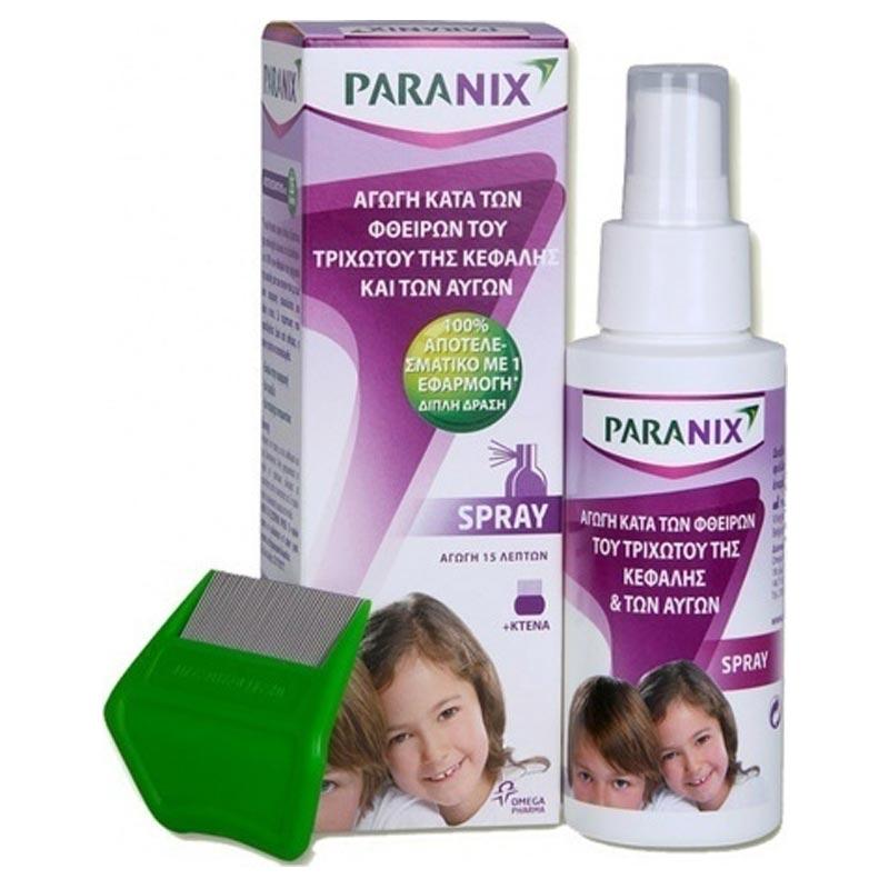 Paranix Spray Αγωγή Κατά των Φθειρών του Τριχωτού της Κεφαλής και των Αυγών 100ml + Κτένα