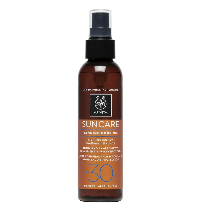 Apivita Suncare Tanning Body Oil SPF30 Αντηλιακό Λάδι Σώματος για μαύρισμα με Καρότο & Ηλίανθο 150ml